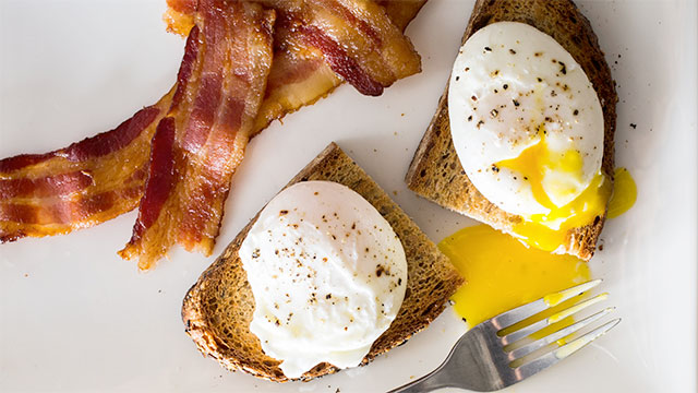 poached eggs and bacon
