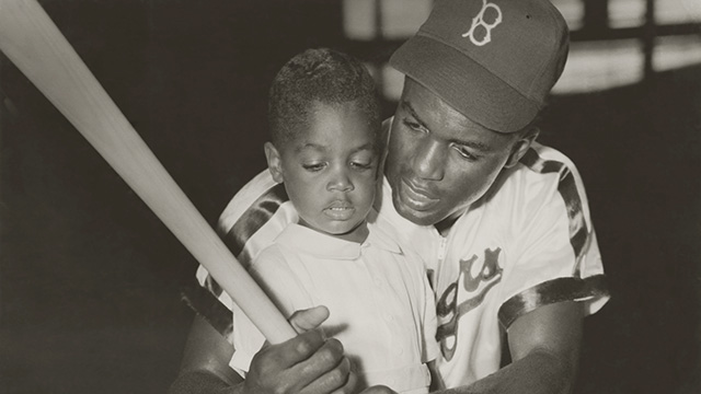 Jackie Robinson with son